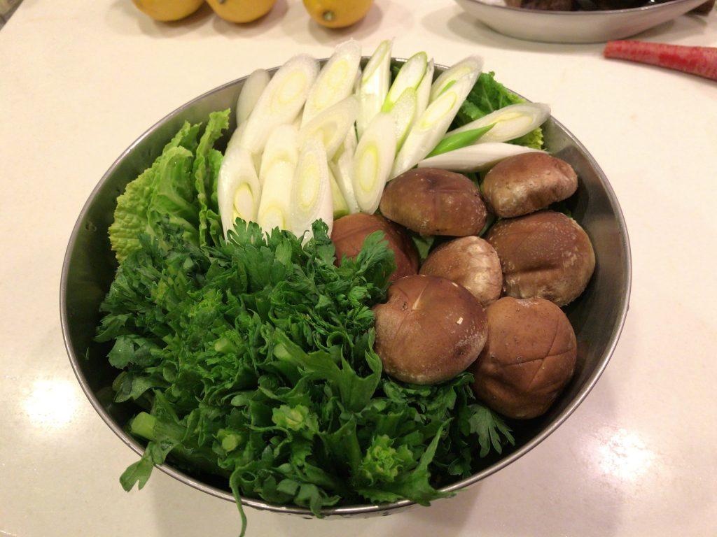 自家菜園の野菜で作る、すき焼き